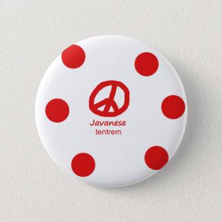 Javanesespråk och fredsymboldesign standard knapp rund 5.7 cm