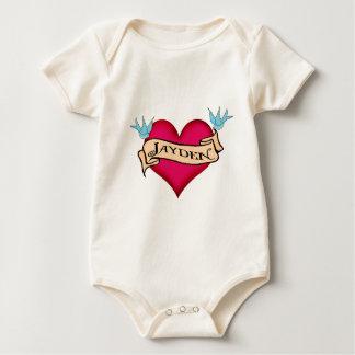 Jayden - beställnings- hjärtatatueringT-tröja & Krypdräkt