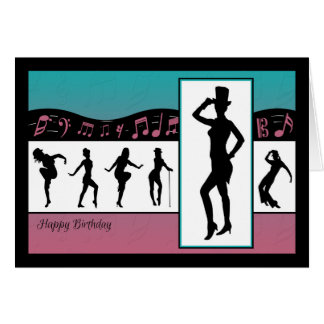 Jazzdansare med musik noterfödelsedagkortet hälsningskort