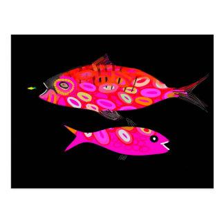 Jazzfish psychedelic tropisk fiskdesign vykort