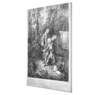 Jean Antoine Watteau och vänMonsieur Canvastryck