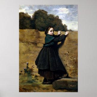 Jean-Baptiste Camille Corot nyfiken liten flicka Poster
