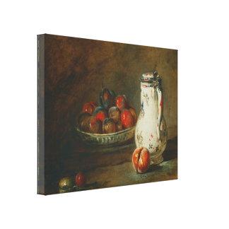 Jean-Baptiste Simeon Chardin - en bunke av plommon Canvastryck