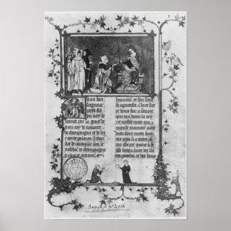 Jean de Joinville som erbjuder hans bok på St Loui Poster