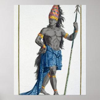 Jean kung av Kongofloden som inristas av Pierre Du Poster