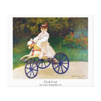 Jean Monet på en mekanisk häst Claude Monet Canvastryck