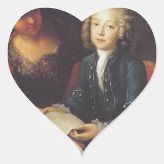 Jean Philippe Baratier som framläggas av Minerva Hjärtformat Klistermärke