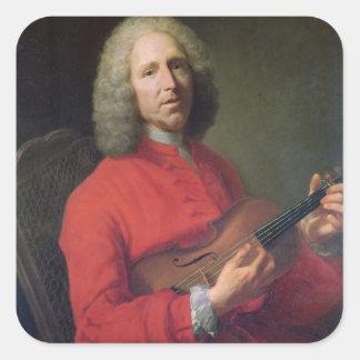 Jean-Philippe Rameau med en fiol Fyrkantigt Klistermärke