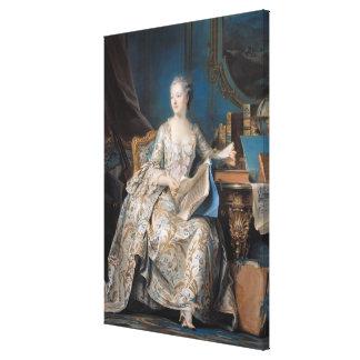 Jeanne Poisson marquisen de Pompadour, 1755 Canvastryck