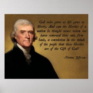 Jefferson gud och frihet poster