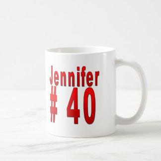 Jennifer 40th födelsedag vit mugg
