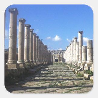 Jerash romareväg fyrkantigt klistermärke