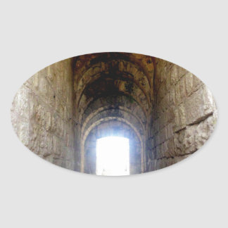 Jerash romerskt teaterhall ovalt klistermärke
