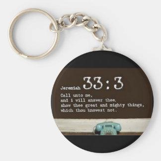 Jeremiah 33:3 rund nyckelring