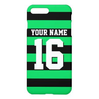 Jersey för lag för smaragdgröntsvart Preppy rand iPhone 7 Plus Skal