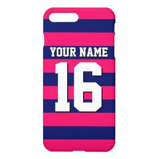 Jersey för marinblåa sportar för hallon Preppy iPhone 7 Plus Skal