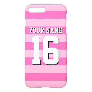 Jersey för rosa shock rosalag Preppy rand iPhone 7 Plus Skal
