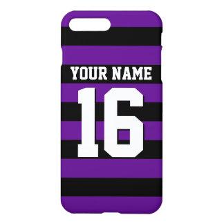Jersey för svart sportar för lilor Preppy rand iPhone 7 Plus Skal