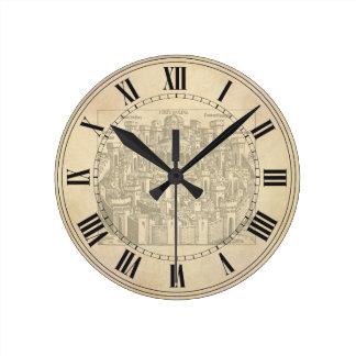 Jerusalem medeltida träsnitt rund klocka