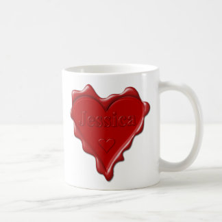 Jessica. Den röda hjärtavaxen förseglar med kända Kaffemugg