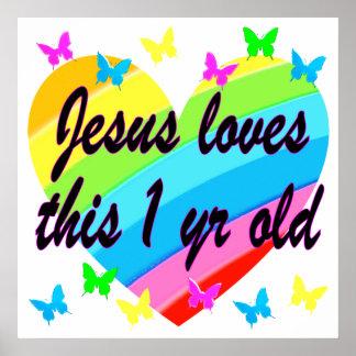 JESUS ÄLSKAR DENNA 1 ÅRIGA FÖDELSEDAGDESIGN POSTER