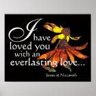Jesus älskar dig den Coneflower konstaffischen Poster