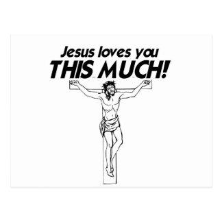 JESUS ÄLSKAR DIG DENNA MYCKET - .PNG VYKORT