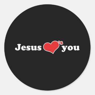 Jesus älskar dig hjärta runt klistermärke