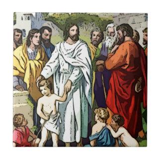 Jesus älskar lite barnen kakelplatta