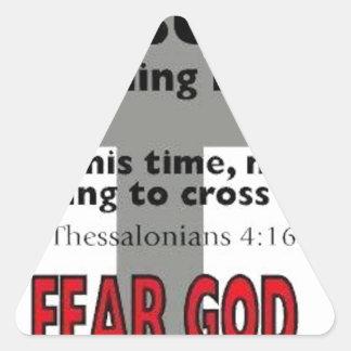 Jesus är kommande baksida triangelformat klistermärke
