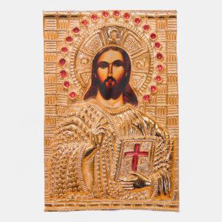 Jesus christ guld- symbol kökshandduk