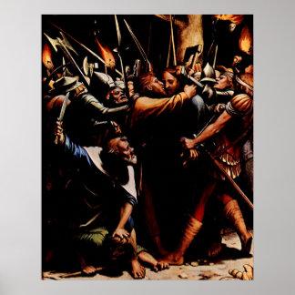 Jesus förrådde vid den Judas Iscariot affischen Poster
