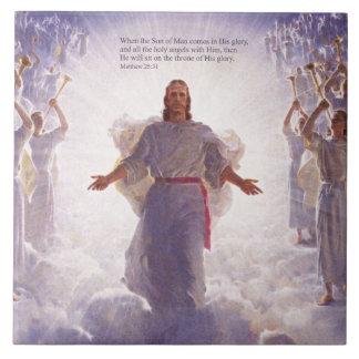 Jesus & hans änglar 1 belägger med tegel stor kakelplatta