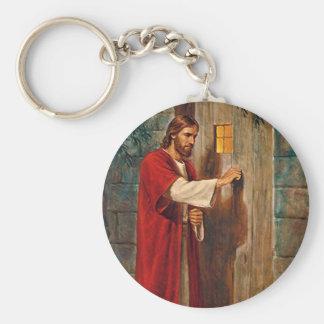 Jesus knackningar på dörren rund nyckelring