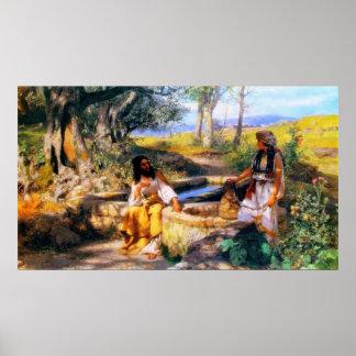 Jesus och barnsamaritkvinnan på Jacob brunn Poster