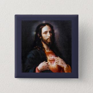 Jesus öppnar hans hjärta till oss standard kanpp fyrkantig 5.1 cm