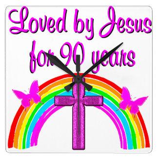 JESUS som ÄLSKAR 90:e FÖDELSEDAG Fyrkantig Klocka