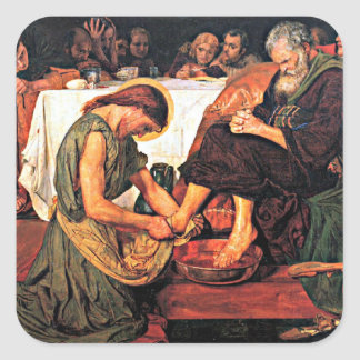 Jesus som tvättar Peter fot Fyrkantigt Klistermärke