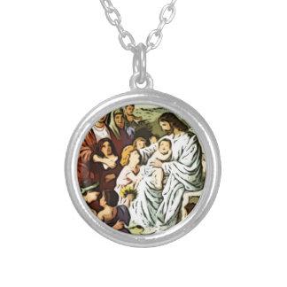 Jesus som välsignar barnen halsband med rund hängsmycke