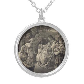 Jesus som välsignar halsbandet halsband med rund hängsmycke