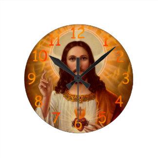 Jesus tar tid på rund klocka