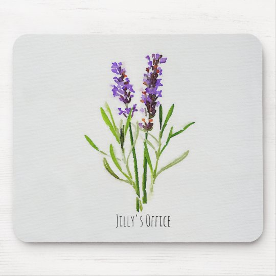 Jillys botanisk lavendelvattenfärg musmatta