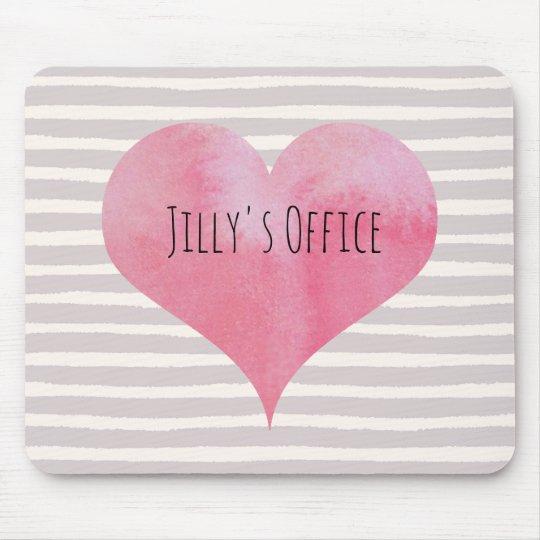 Jillys rosa vattenfärghjärta mus mattor