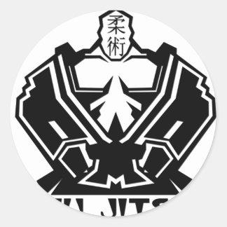 Jiu Jitsu - kämpen förbereder sig Runt Klistermärke