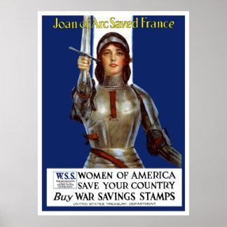 Joan av bågen sparade frankriken -- WWI Poster