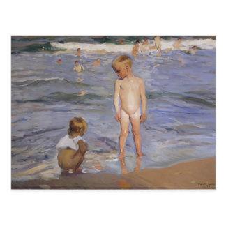 Joaquín Sorolla- barn som badar i eftermiddagsol Vykort