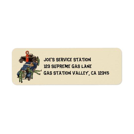Joes tjänste- bensinstation för fullt, returadress etikett