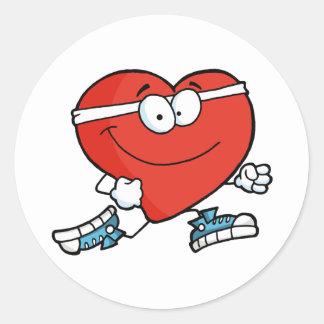 Jogga hjärta runt klistermärke