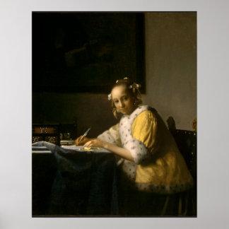 Johannes Vermeer, en damhandstil ett brev Poster