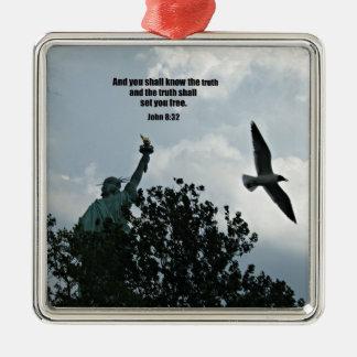 John 8:32frihet julgransprydnad metall